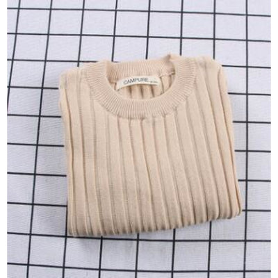 Unisex Candy color Knitted Sweater - Beige / 18-24 months