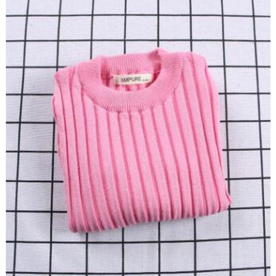 Unisex Candy color Knitted Sweater - Pink / 18-24 months