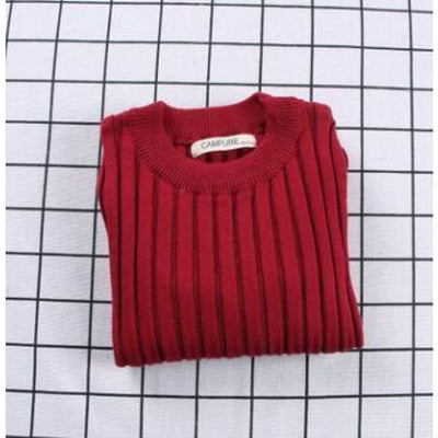 Unisex Candy color Knitted Sweater - Red / 18-24 months