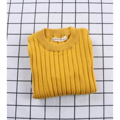 Unisex Candy color Knitted Sweater - Yellow / 18-24 months
