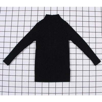 Unisex Candy color Ribbed Sweater - Black 1 / 2-3 years