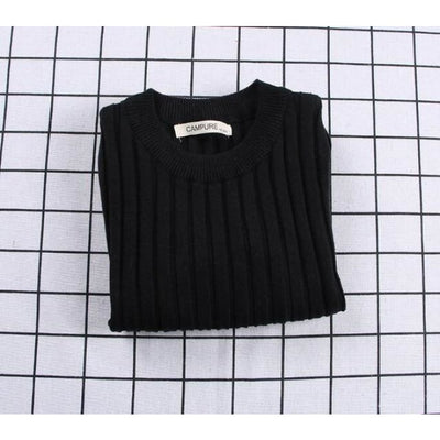 Unisex Candy color Ribbed Sweater - Black / 2-3 years