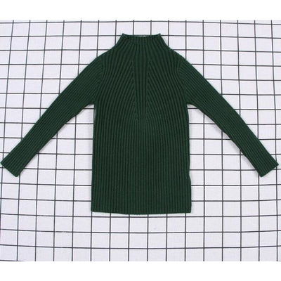 Unisex Candy color Ribbed Sweater - Dark Green / 2-3 years