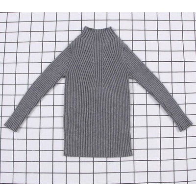 Unisex Candy color Ribbed Sweater - gray / 2-3 years