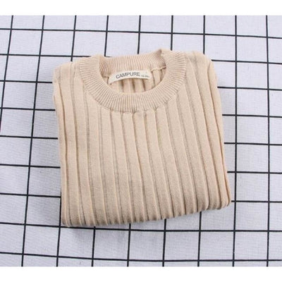 Unisex Candy color Ribbed Sweater - Khaki / 2-3 years