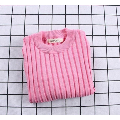 Unisex Candy color Ribbed Sweater - Pink / 2-3 years