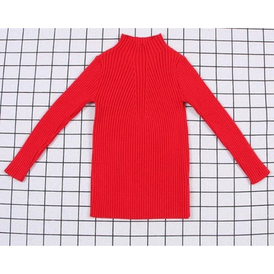 Unisex Candy color Ribbed Sweater - Red 1 / 2-3 years