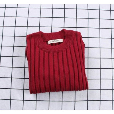Unisex Candy color Ribbed Sweater - Red / 2-3 years