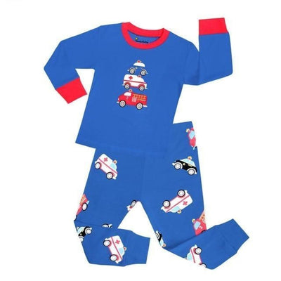 Unisex Casual Full Sleeve Cartoon Pajama Set - Blue / 18-24 months