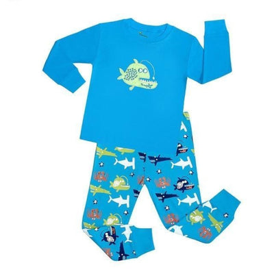 Unisex Casual Full Sleeve Cartoon Pajama Set - Blue 2 / 18-24 months