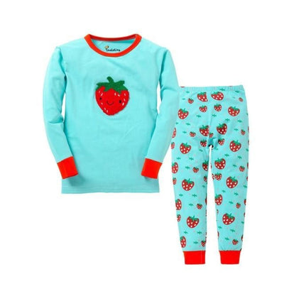 Unisex Casual Full Sleeve Cartoon Pajama Set - Cyan / 18-24 months
