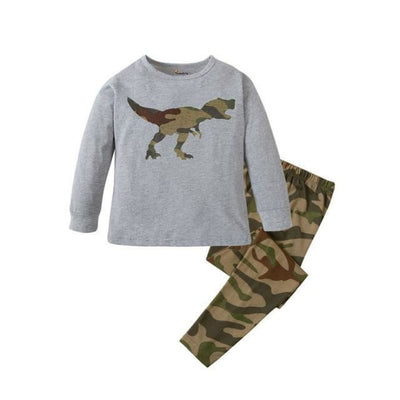 Unisex Casual Full Sleeve Cartoon Pajama Set - Gray / 18-24 months