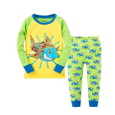 Unisex Casual Full Sleeve Cartoon Pajama Set - Lemon Green / 18-24 months