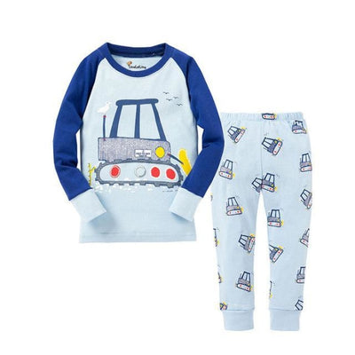 Unisex Casual Full Sleeve Cartoon Pajama Set - Light Blue / 18-24 months