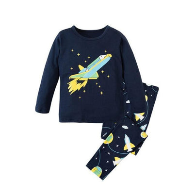 Unisex Casual Full Sleeve Cartoon Pajama Set - Navy Blue / 18-24 months