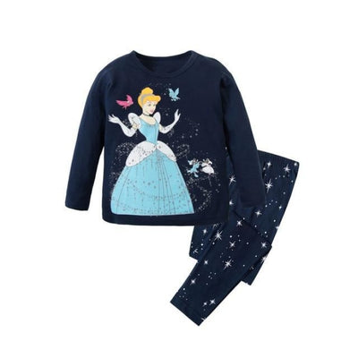 Unisex Casual Full Sleeve Cartoon Pajama Set - Navy Blue 2 / 18-24 months