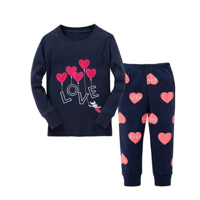 Unisex Casual Full Sleeve Cartoon Pajama Set - Navy Blue 3 / 18-24 months