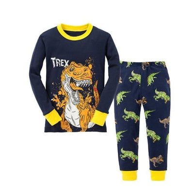 Unisex Casual Full Sleeve Cartoon Pajama Set - Navy Blue + Yellow / 18-24 months