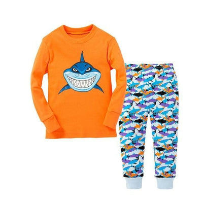 Unisex Casual Full Sleeve Cartoon Pajama Set - Orange + Blue / 18-24 months