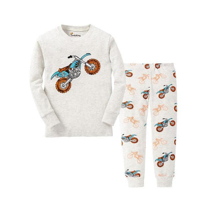 Unisex Casual Full Sleeve Cartoon Pajama Set - White / 18-24 months
