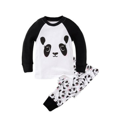 Unisex Casual Full Sleeve Cartoon Pajama Set - White + Black / 18-24 months