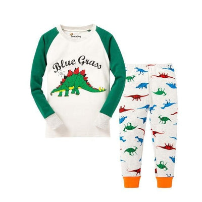 Unisex Casual Full Sleeve Cartoon Pajama Set - White + Green / 18-24 months