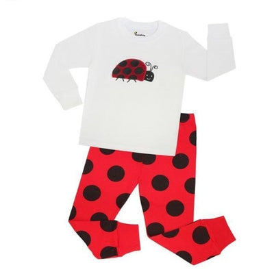 Unisex Casual Full Sleeve Cartoon Pajama Set - White + Red / 18-24 months