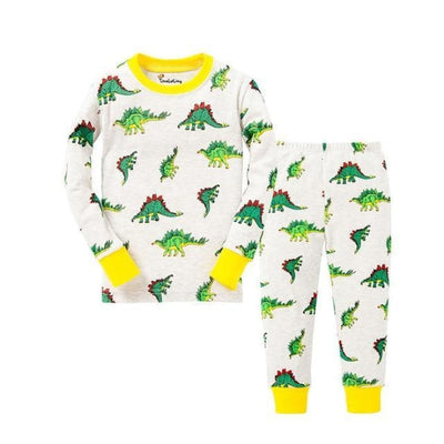 Unisex Casual Full Sleeve Cartoon Pajama Set - White + Yellow / 18-24 months