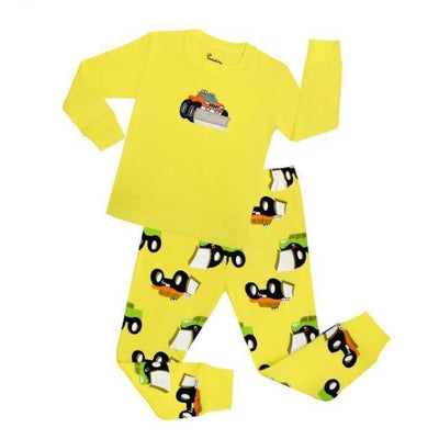 Unisex Casual Full Sleeve Cartoon Pajama Set - Yellow / 18-24 months
