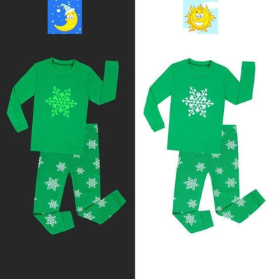 Unisex Casual Printed Glow in the Dark Pajama Set - Green / 18-24 months