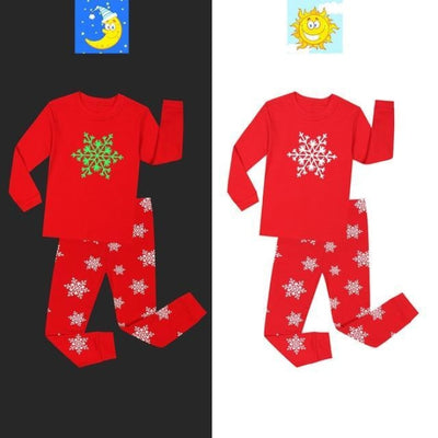 Unisex Casual Printed Glow in the Dark Pajama Set - Red / 18-24 months