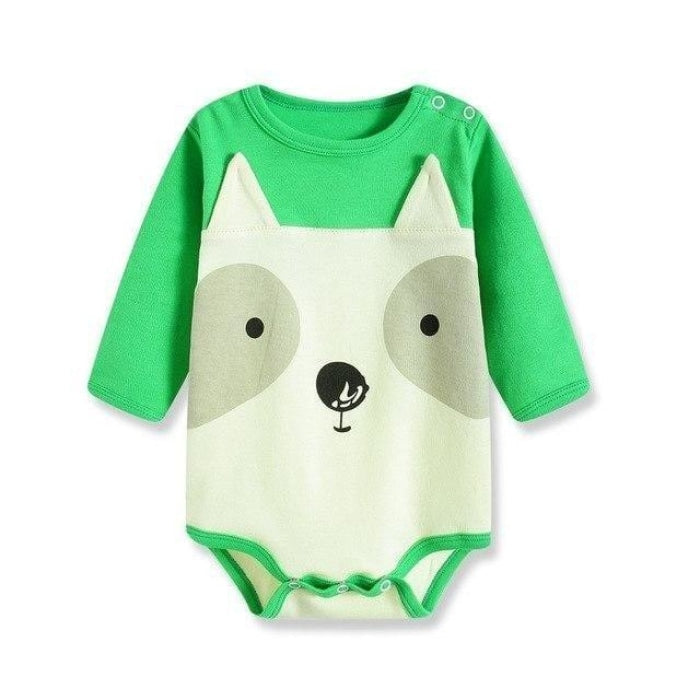 Unisex Cotton Cartoon Printed Yellow Full Sleeve Bodysuit