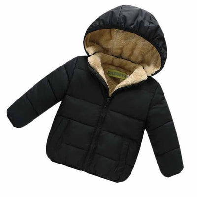 Unisex Cotton Full Sleeve Hooded Jacket for Kids - Black / 9-12 months