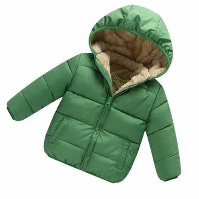 Unisex Cotton Full Sleeve Hooded Jacket for Kids - Green / 9-12 months