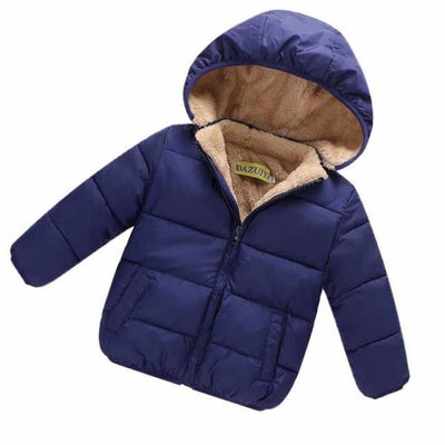 Unisex Cotton Full Sleeve Hooded Jacket for Kids - Navy Blue / 9-12 months