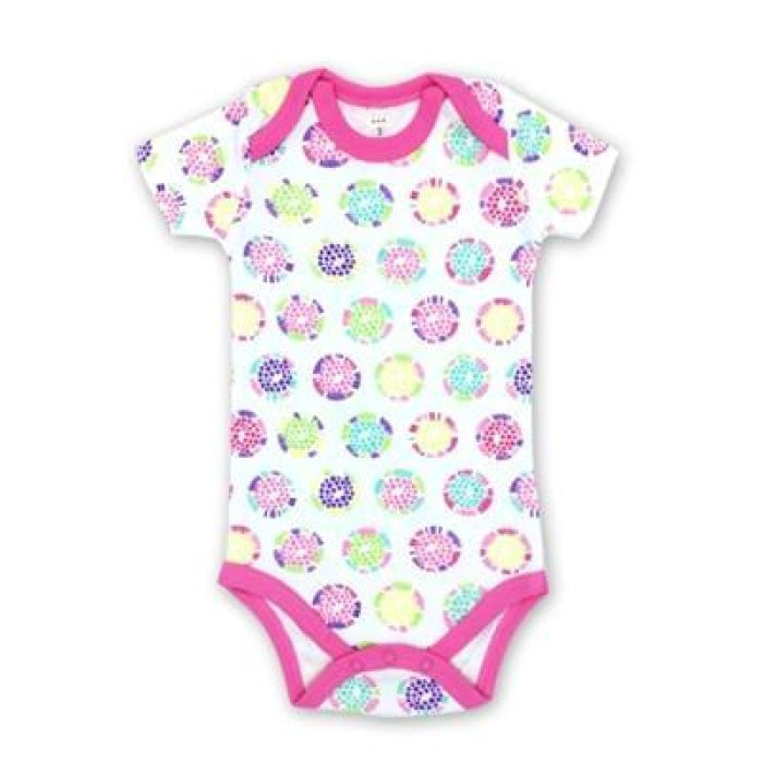 Unisex Cotton Printed Bodysuit with Short Sleeves