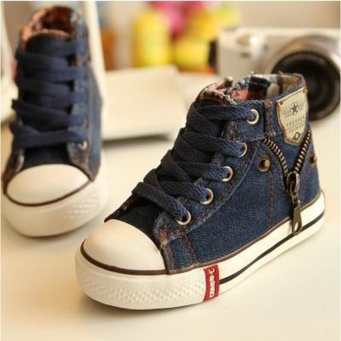 Unisex Denim Canvas Sneakers with Breathable Cotton Lining