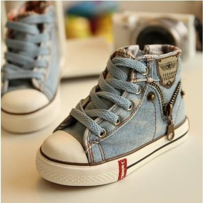 Unisex Denim Canvas Sneakers with Breathable Cotton Lining - Light blue / 8.5