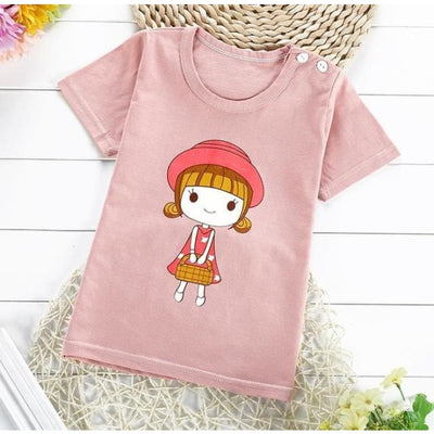 Unisex Easy Clean Cotton Fleece T-Shirt Top - Pale pink / 18-24 months