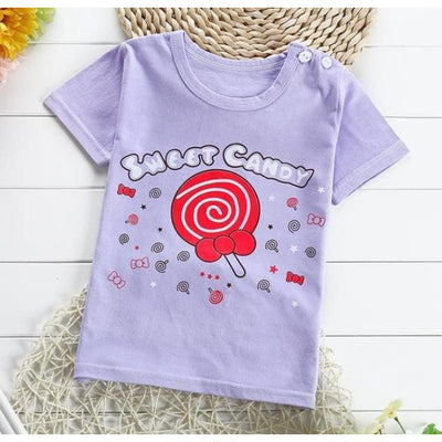 Unisex Easy Clean Cotton Fleece T-Shirt Top - Purple 2 / 18-24 months