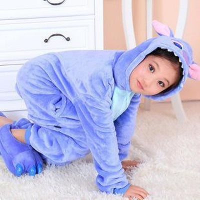 Unisex Flannel Animal Print Pajama Rompers for 2-11 Year Olds - Blue stitch / 18-24 months