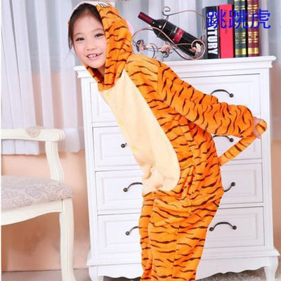 Unisex Flannel Animal Print Pajama Rompers for 2-11 Year Olds - Jump tiger / 18-24 months