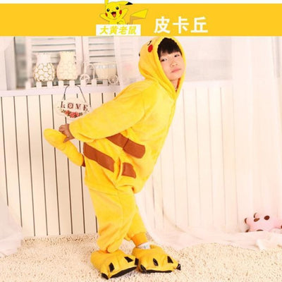Unisex Flannel Animal Print Pajama Rompers for 2-11 Year Olds - pikachu / 18-24 months