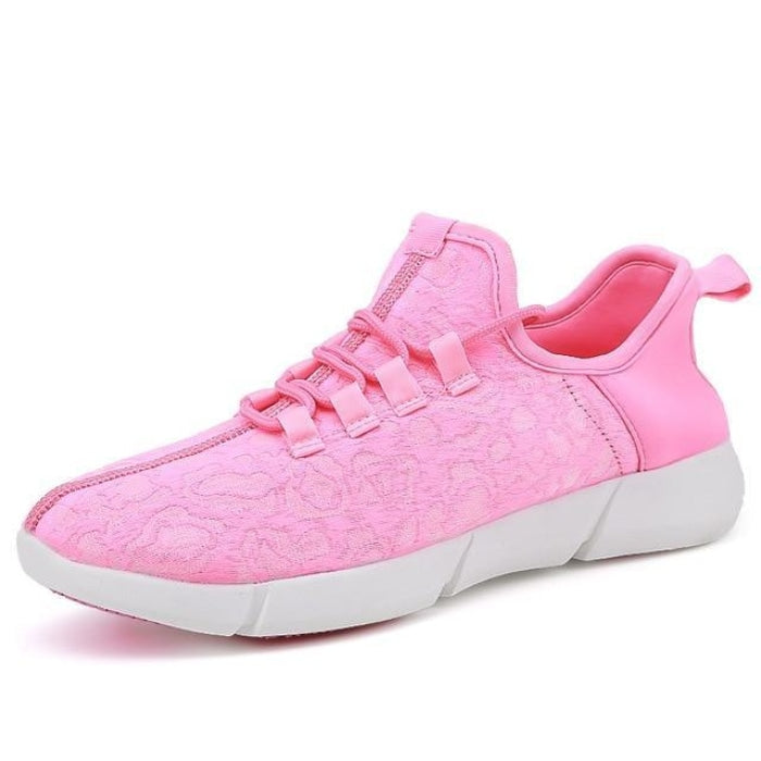 Unisex Glowing Lace-Up Sneakers for Children - Black / 9.5