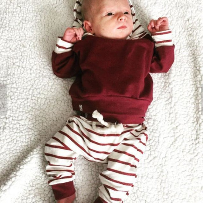 Unisex Hooded Red Sweater Top With Stripped Pants for Infants