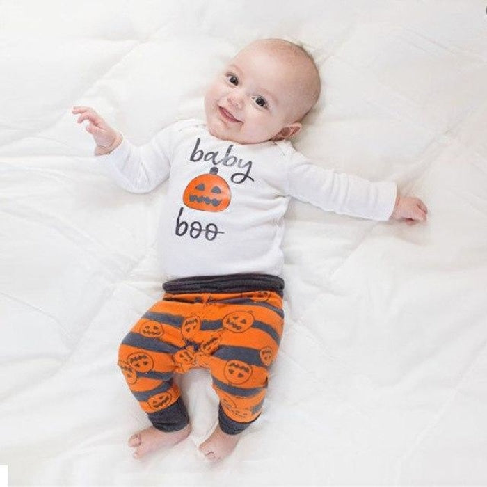 Unisex Infant Halloween Pumpkin T-Shirt Top with Pants