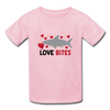 Unisex Kids T-shirt Shark Love Bites - light pink