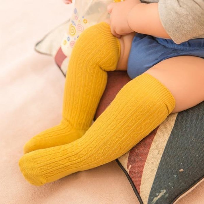 Unisex Knee Length Cotton Socks - yellow / 2-4 years