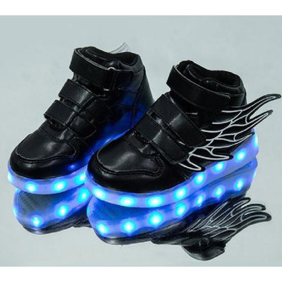 Unisex LED Light-Up Shoes with USB Charging - Black / 9.5