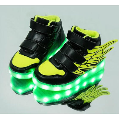 Unisex LED Light-Up Shoes with USB Charging - Green / 9.5